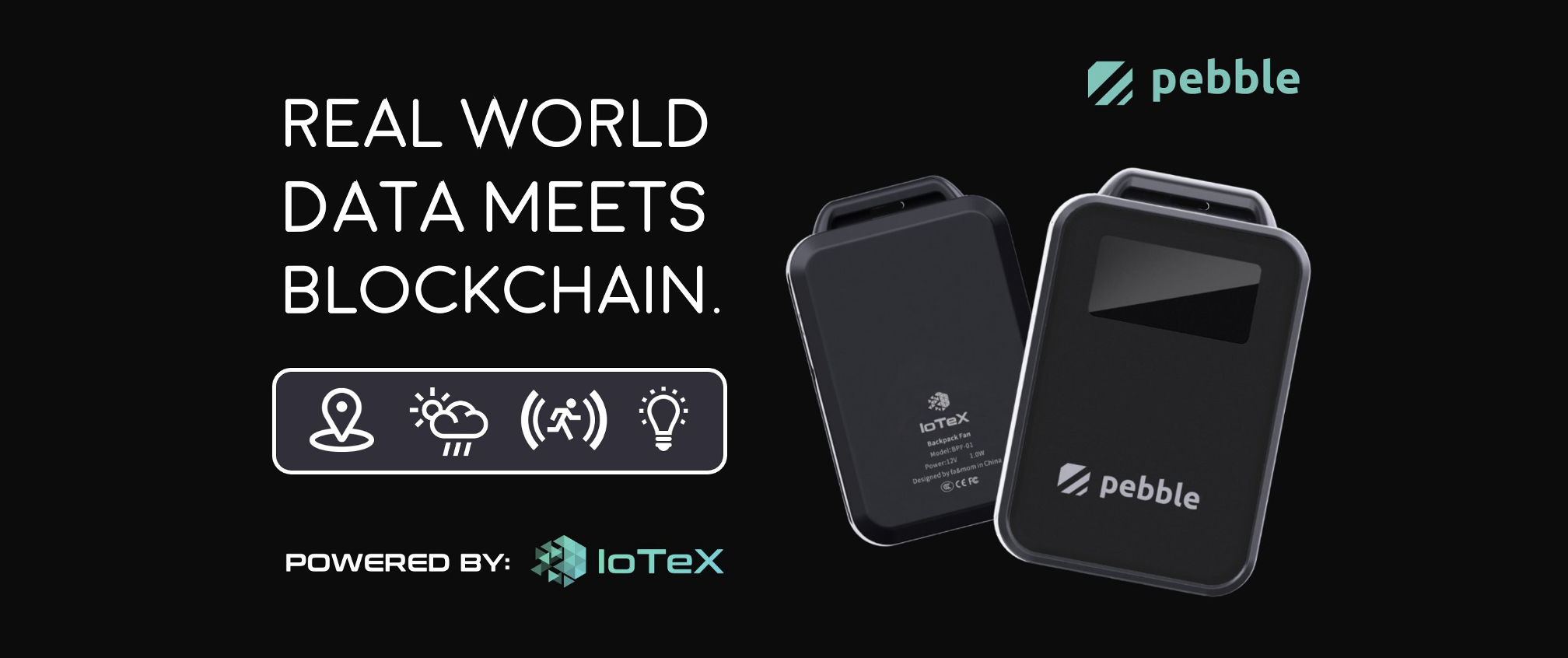 Real World Data Meets Blockchain - Image of Pebble tracking device